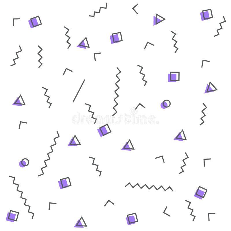 Modelos inconsútiles en colores púrpuras con los elementos geométricos Estilo del inconformista del modelo stock de ilustración