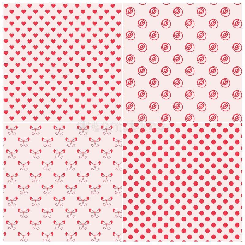 Modelos inconsútiles en colores rosados stock de ilustración
