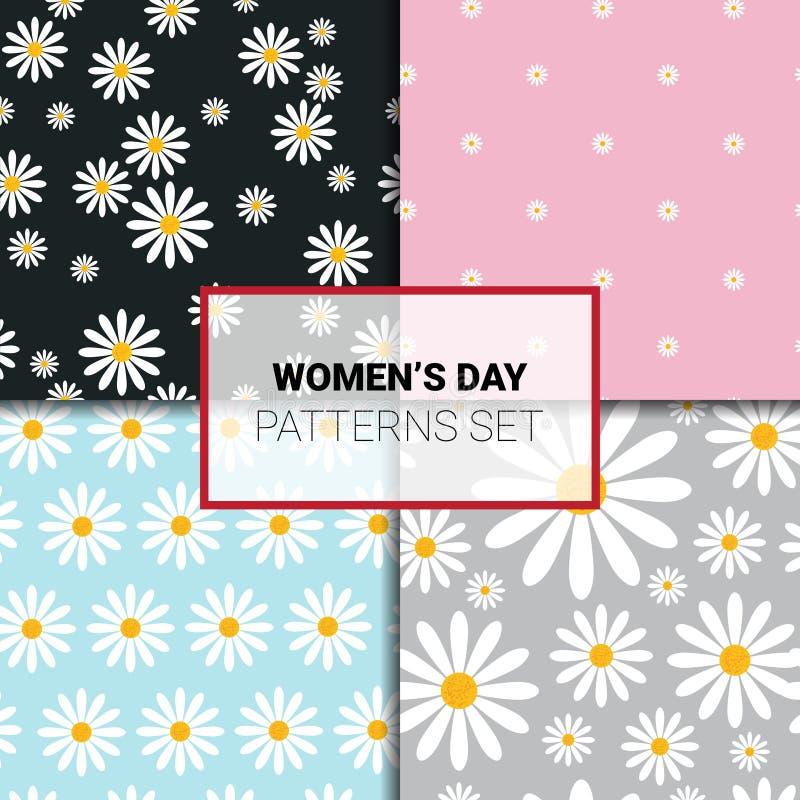 Modelos inconsútiles fijados con las flores de la manzanilla en el ornamento floral hermoso del fondo colorido para las mujeres i libre illustration
