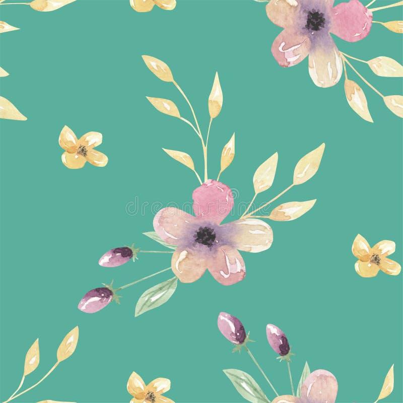 Modelos inconsútiles florales de Teal Flowers Pink Leaves Green de la acuarela ilustración del vector