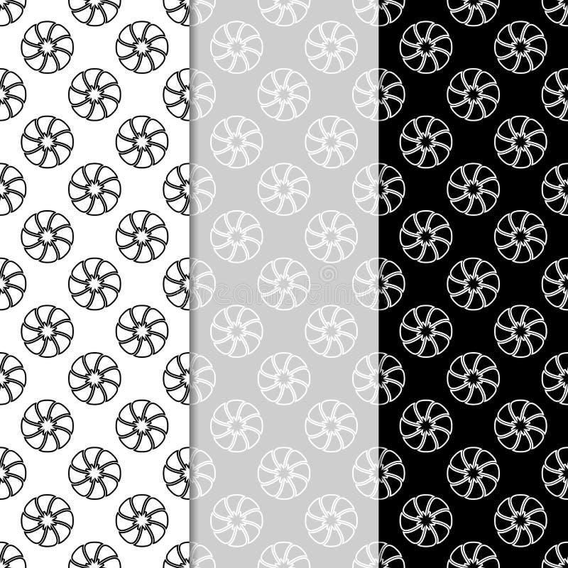 Modelos inconsútiles florales Sistema de fondos verticales blancos y negros del papel pintado stock de ilustración