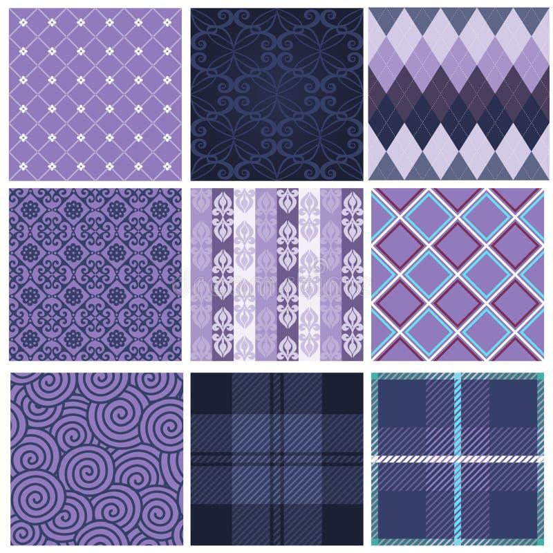 Modelos inconsútiles púrpuras stock de ilustración