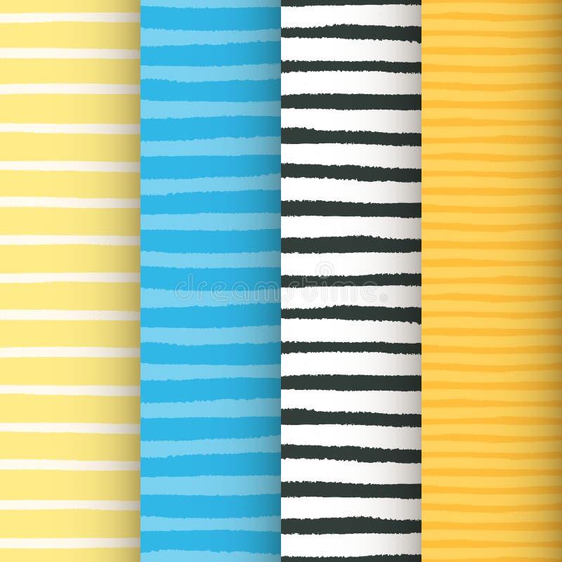 Modelos inconsútiles pintados de las rayas fijados ilustración del vector