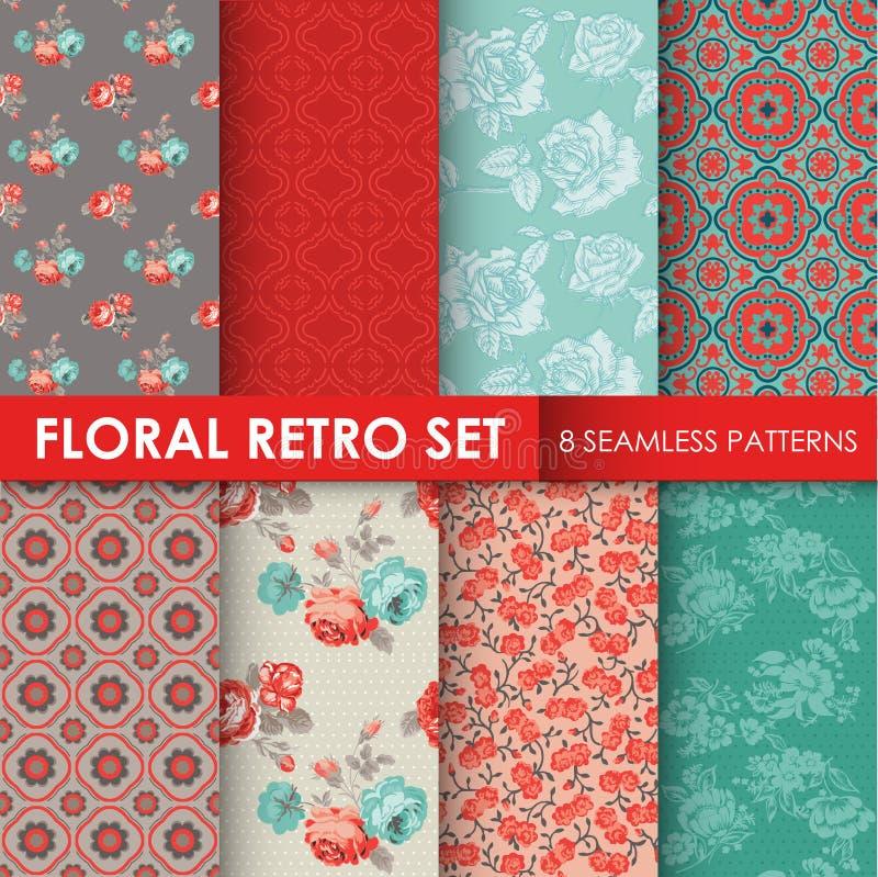 8 modelos inconsútiles - sistema retro floral stock de ilustración