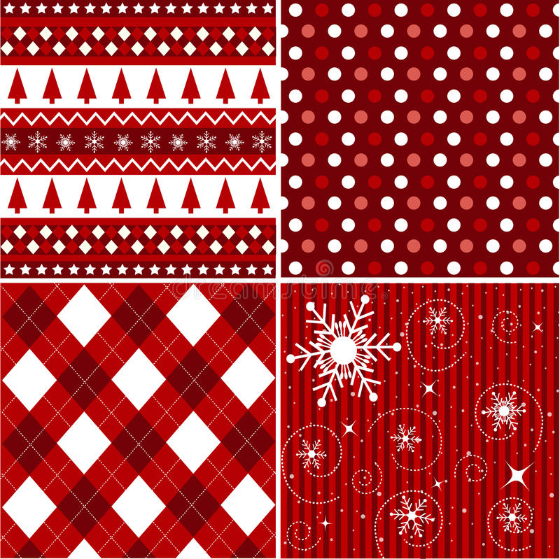 Modelos inconsútiles, textura de la tela de la Navidad stock de ilustración