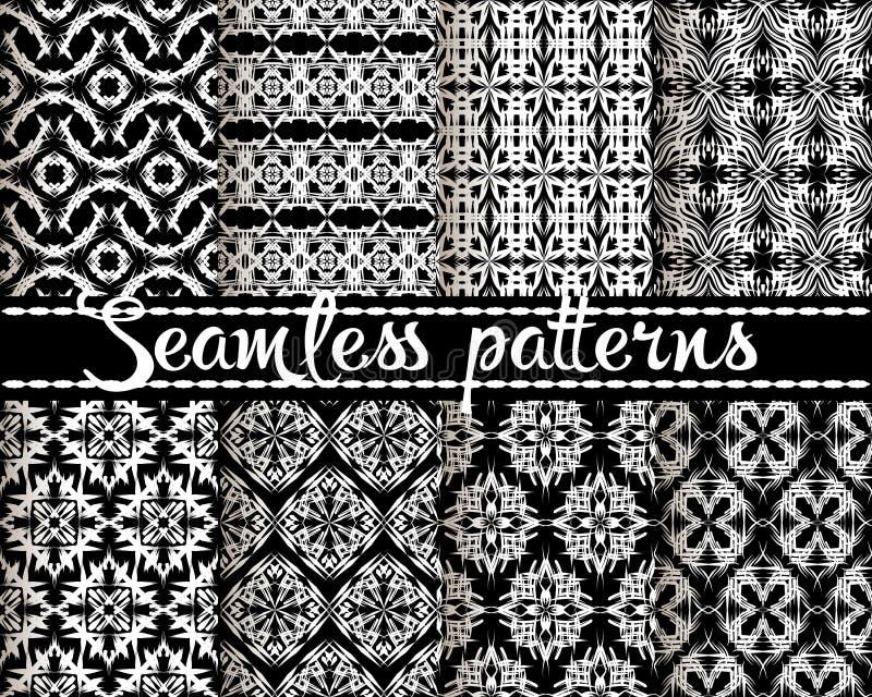 Modelos incons?tiles fijados Fondos geométricos ornamentales del estilo étnico Contextos blancos y negros de la repetición tribal stock de ilustración