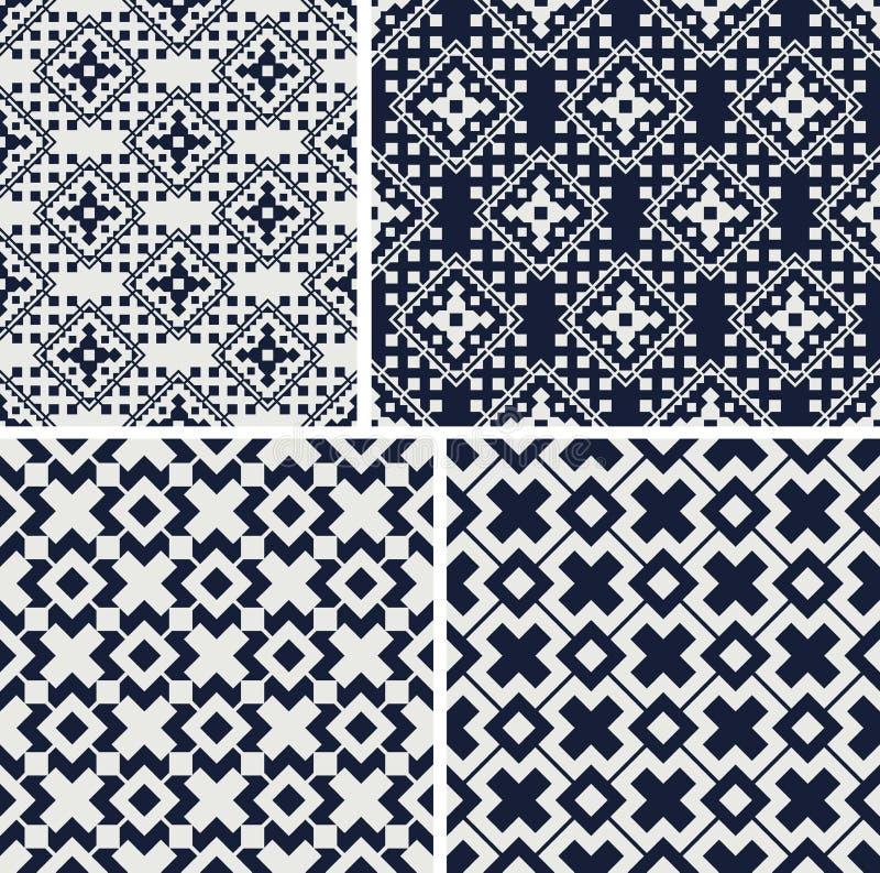 Modelos incons?tiles geom?tricos Fije de ornamentos monocromáticos Ilustraci?n del vector ilustración del vector
