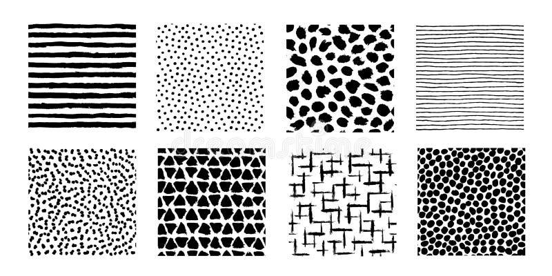 Modelos irregulares de los movimientos del cepillo Líneas pintadas exhaustas de la mano inconsútil libre illustration
