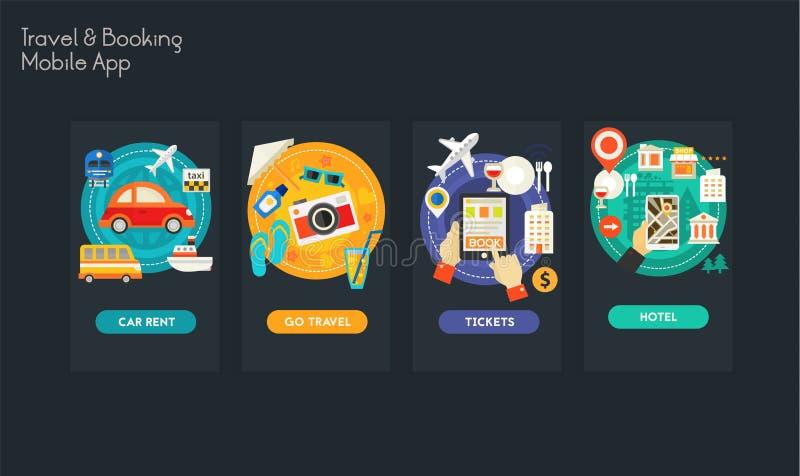 Modelos móveis responsivos do projeto liso UI app ilustração stock