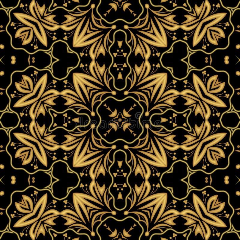 Modelos orientales grabados en relieve de oro lujosos del brocado o del damasco, ornamento simétrico en fondo negro ilustración del vector
