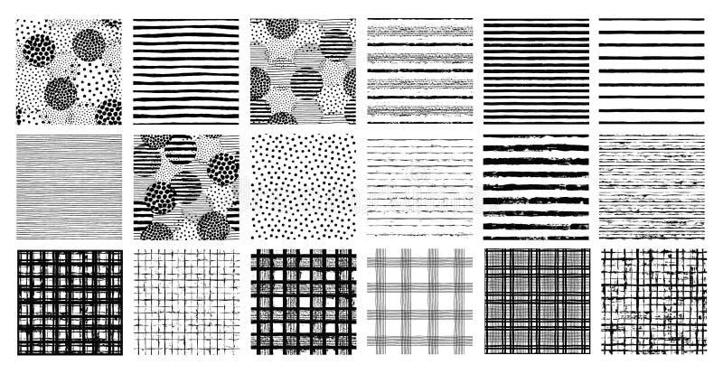Modelos pintados Fondos inconsútiles del cepillo de puntos y de rayas ilustración del vector