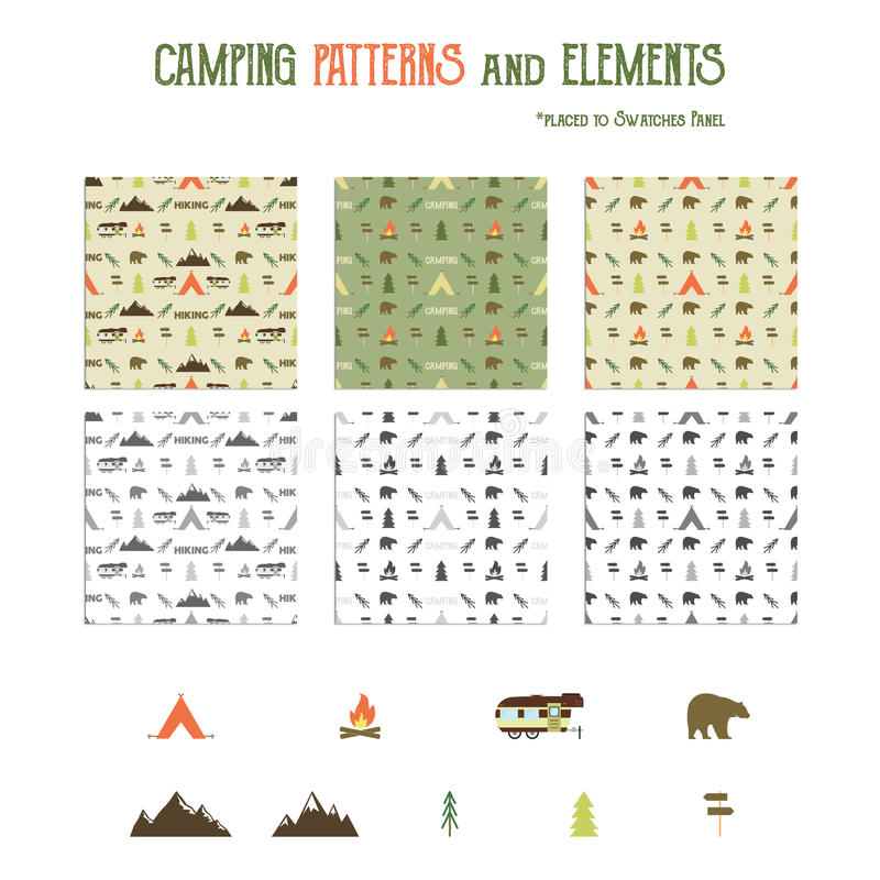 Modelos que acampan y caminar el sistema de elementos stock de ilustración