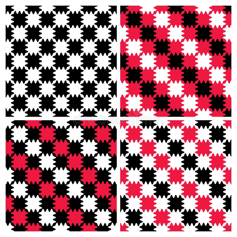 Modelos rayados del tablero de damas del zigzag stock de ilustración