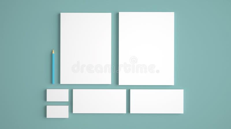 Modelos realísticos dos artigos de papelaria ajustados Cabeçalho, cartão de nome, envelope, dobrador da apresentação ilustração stock
