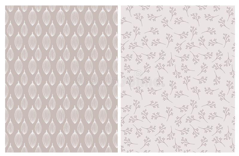 Modelos repetibles florales Árbol congelado solo Hojas abstractas exhaustas de la mano stock de ilustración
