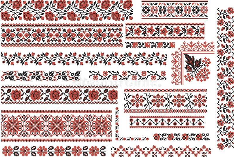 Modelos rojos y negros florales para la puntada del bordado stock de ilustración