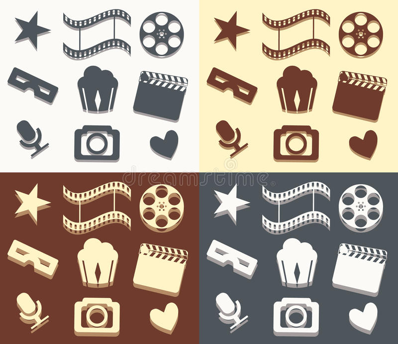 Modelos simples del cine ilustración del vector