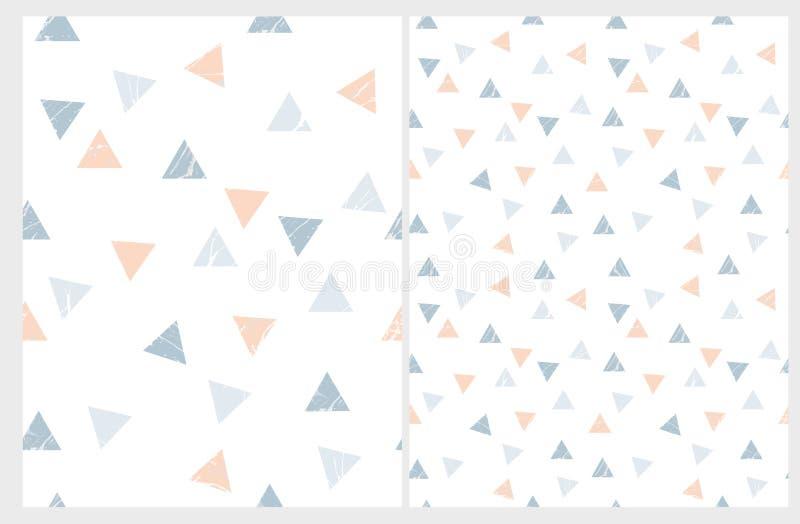 Modelos simples del vector de los triángulos Azul y Salmon Pink Marble Triangles Isolated en un fondo blanco stock de ilustración
