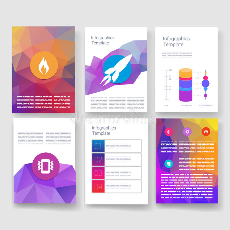 modelos Sistema del diseño del web, correo, folletos stock de ilustración