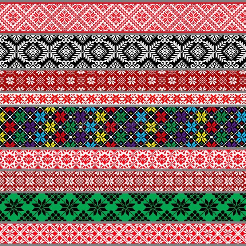 Modelos tradicionales bielorrusos, ornamentos Conjunto 2 imagen de archivo libre de regalías