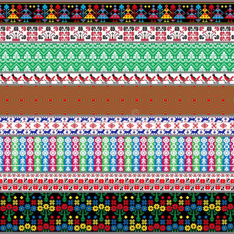 Modelos tradicionales bielorrusos, ornamentos Sistema 7 foto de archivo