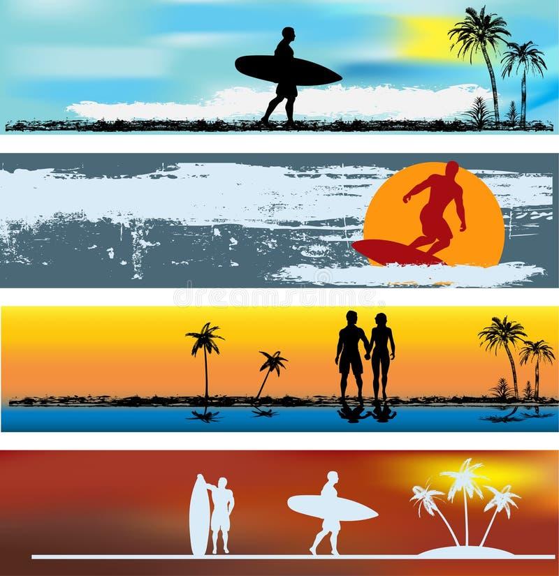 Modelos tropicales de la bandera del Web de la playa libre illustration
