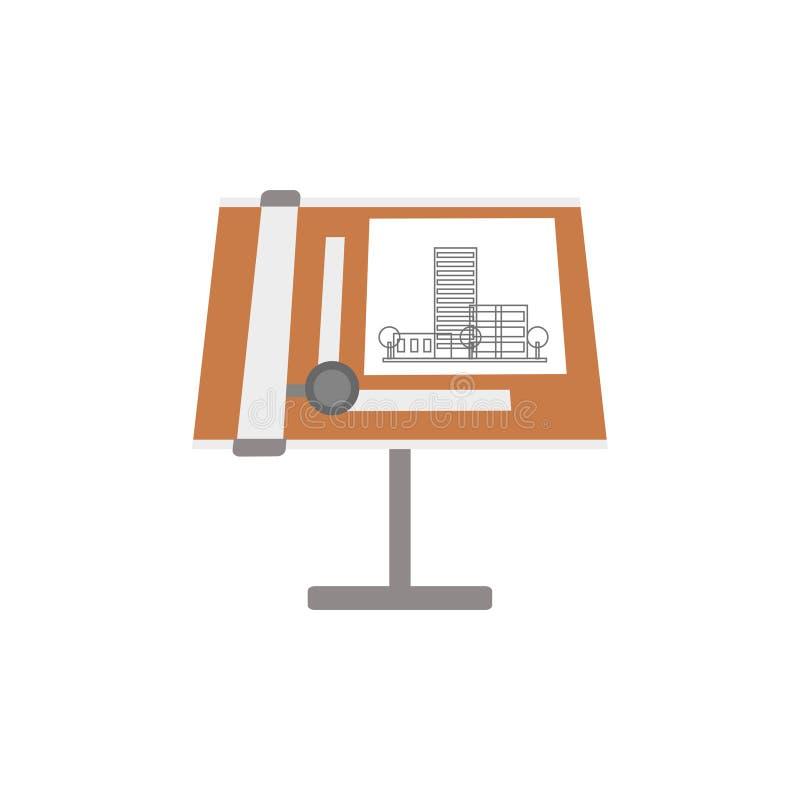 Modelos y herramientas arquitectónicos en un tablero de dibujo, lugar de trabajo del ejemplo del vector del arquitecto en un fond libre illustration