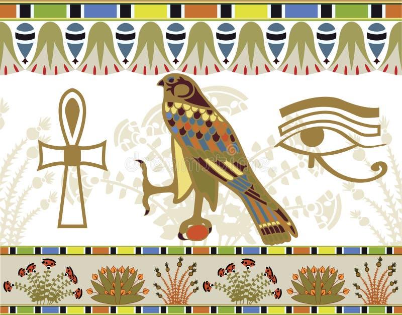 Modelos y símbolos egipcios imagen de archivo