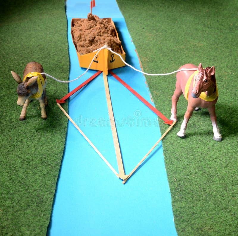 Modelregeling met twee dieren die een boot lowing - Fysica stock foto's