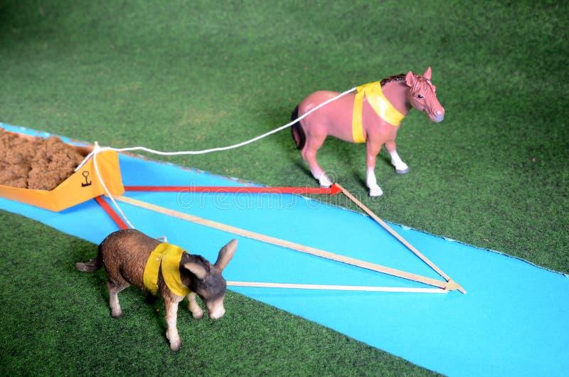 Modelregeling met twee dieren die een boot slepen - Fysica royalty-vrije stock foto's