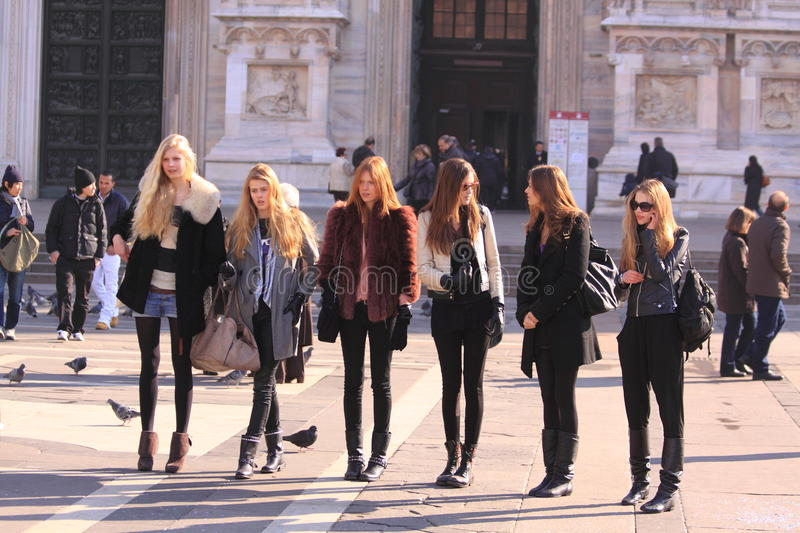 Models backstage in the street milan royalty free stock photo