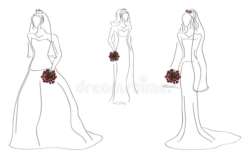 Download Models with bridal gowns stock vector. Image of picture - 19834448