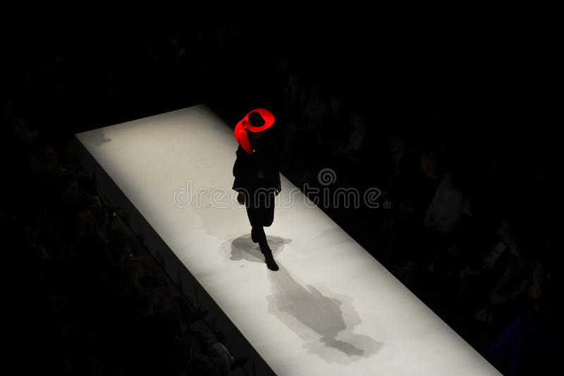 Models on the catwalk during the fashion show stock photo