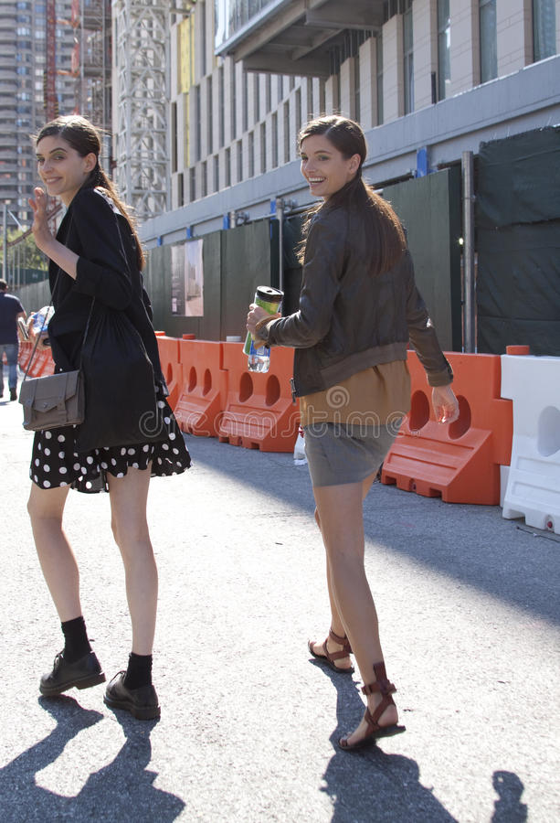 Models leaving after a Fashion Show in New York. Fashion models street style during New York Fashion Week royalty free stock images