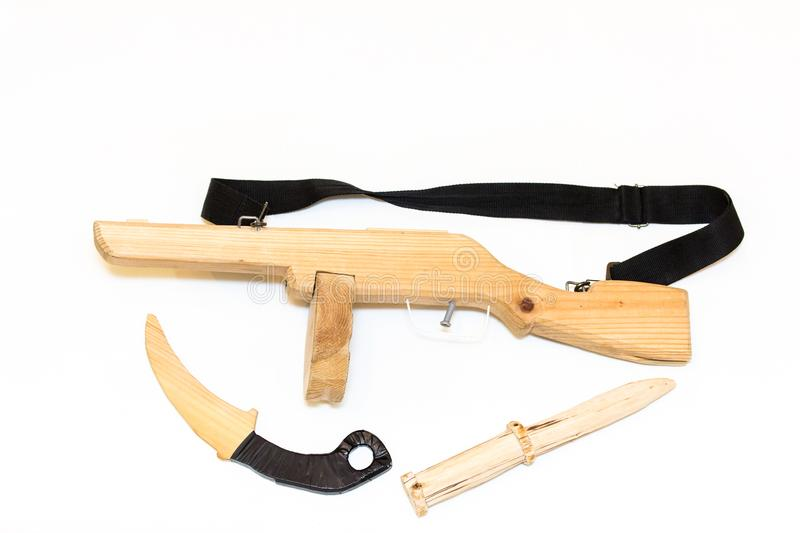 Models of firearms and bladed weapons, hand made for the game royalty free stock images