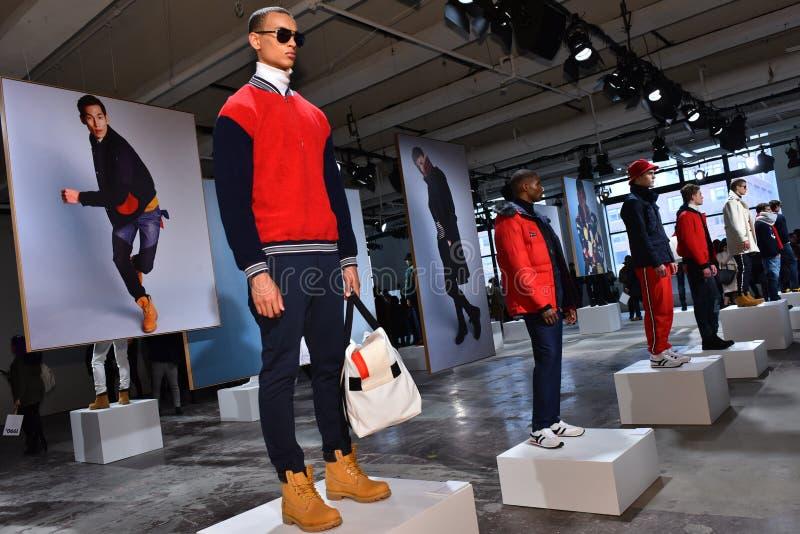 Models pose at the Nautica Fall 2017 presentation. NEW YORK, NY - FEBRUARY 01: Models pose at the Nautica Fall 2017 presentation during NYFW: Mens at Skylight stock images