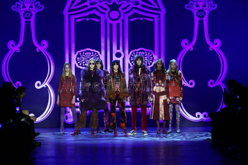 Models pose on the runway at the Anna Sui Fall 2016 show. NEW YORK, NY - FEBRUARY 17: Models pose on the runway at the Anna Sui Fall 2016 show during New York stock photography