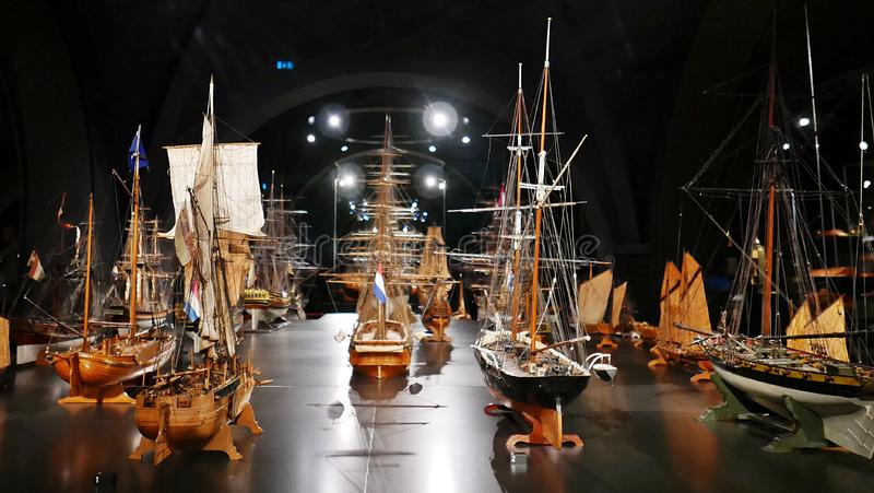 Models ships. Models of Dutch ships at Rijksmuseum Amsterdam royalty free stock photography
