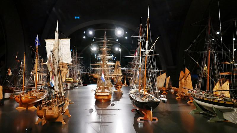 Models ships. Models of Dutch ships at Rijksmuseum Amsterdam stock photo