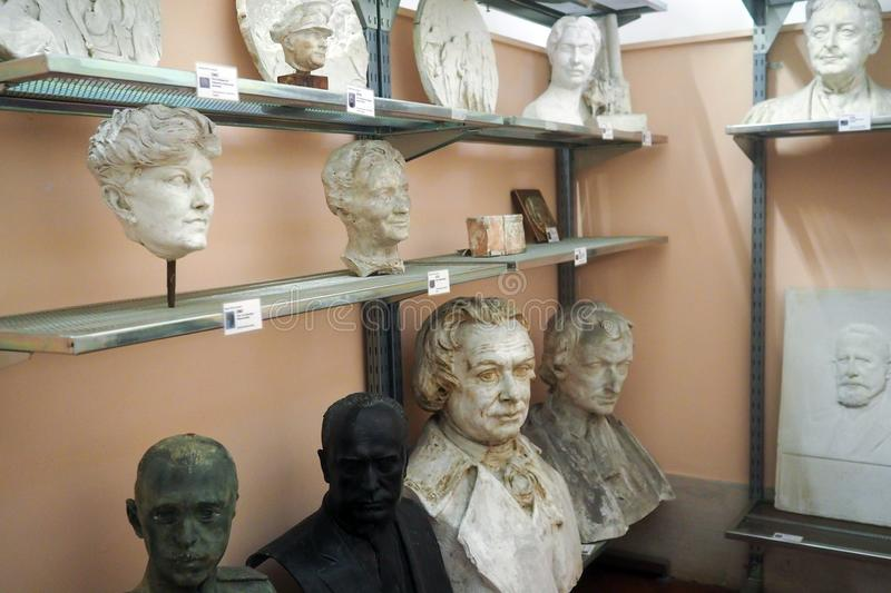 Pietro Canonica Museum in the Villa Borghese Gardens in Rome, Italy. Models and sketches, plaster busts statues and anatomical studies made by Pietro Canonica in stock photography