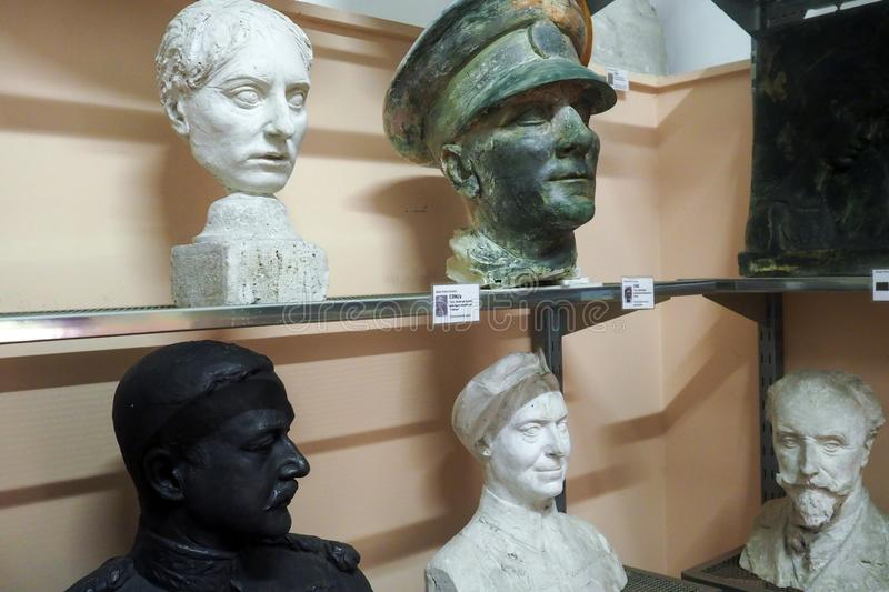 Pietro Canonica Museum in the Villa Borghese Gardens in Rome, Italy. Models and sketches, plaster busts statues and anatomical studies made by Pietro Canonica in stock photos