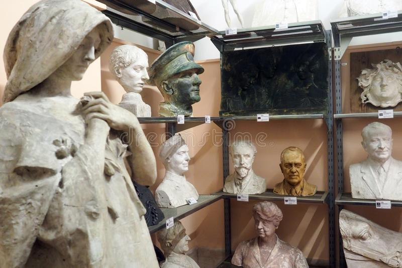 Pietro Canonica Museum in the Villa Borghese Gardens in Rome, Italy. Models and sketches, plaster busts statues and anatomical studies made by Pietro Canonica in royalty free stock image