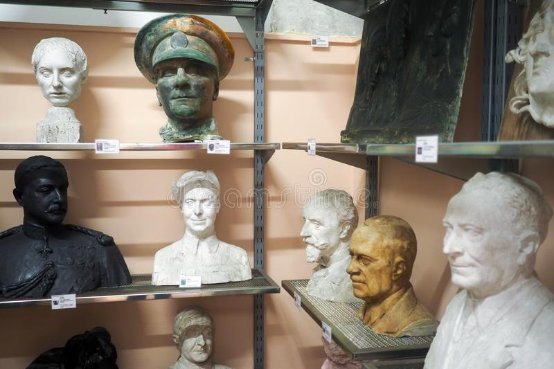 Pietro Canonica Museum in the Villa Borghese Gardens in Rome, Italy. Models and sketches, plaster busts statues and anatomical studies made by Pietro Canonica in royalty free stock photos