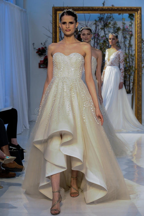Models walk the runway during the Anne Barge Bridal Spring/Summer 2017 Runway Show. NEW YORK, NY - APRIL 14: Models walk the runway during the Anne Barge Bridal stock photos