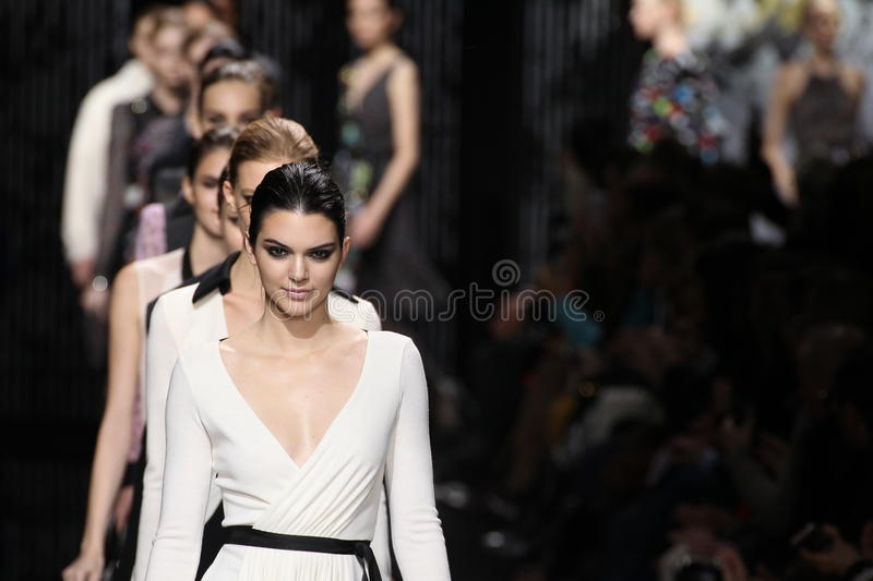 Models walk the runway at the Diane Von Furstenberg fashion show during MBFW Fall 2015 stock photo