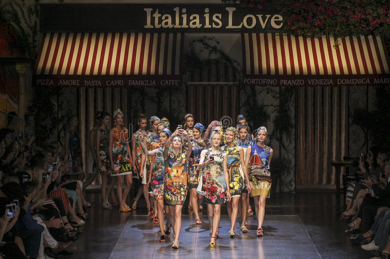 Models walk the runway during the Dolce and Gabbana show stock photo