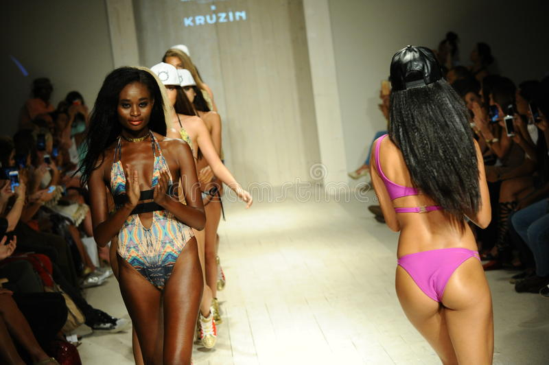Models walk the runway finale during Lila Nicole Spring Summer 2017 Runway Show. MIAMI, FL - JULY 17: Models walk the runway finale during Lila Nicole Spring stock images