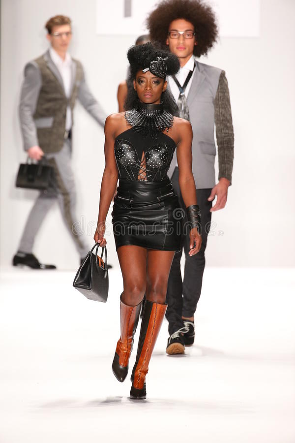 Models walk the runway in a House of Byfield design at the Art Hearts Fashion show during MBFW Fall 2015. NEW YORK, NY - FEBRUARY 19: Models walk the runway in a stock images