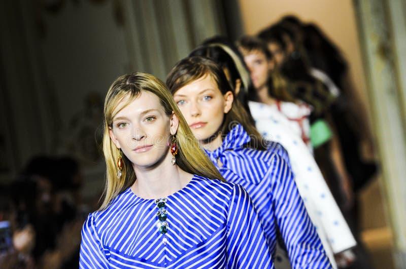 Models walk the runway during the San Andres Milano fashion show. MILAN, ITALY - SEPTEMBER 28: Models walk the runway during the San Andres Milano fashion show stock photo