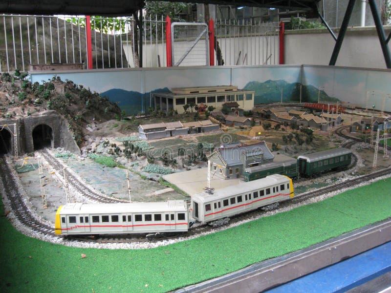 Modelspoorweg bij Hong Kong-spoorwegmuseum, Tai Po stock foto